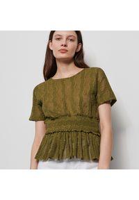 Brązowa bluzka Reserved w ażurowe wzory