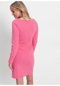 Sukienka dzianinowa bonprix różowy. Kolor: różowy. Materiał: dzianina. Długość rękawa: długi rękaw. Wzór: gładki