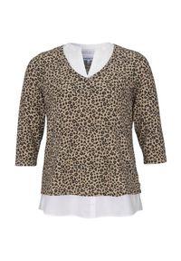 Zhenzi Sweter we wzory Joell beżowy we wzory female beżowy/ze wzorem 50/52 (L). Kolor: beżowy. Materiał: jersey, materiał. Styl: elegancki