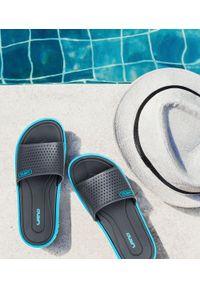 LANO - Klapki młodzieżowe basenowe Lano KL-3-6168-7 Blue/Grey. Okazja: na plażę. Zapięcie: bez zapięcia. Materiał: guma. Obcas: na obcasie. Wysokość obcasa: niski. Sport: pływanie