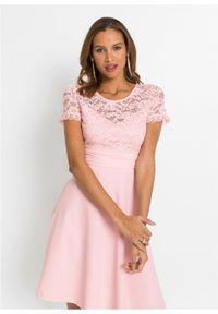 Różowa sukienka bonprix na wesele, w koronkowe wzory