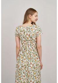 Marie Zélie - Sukienka Melania Sonata kremowa. Kolor: kremowy. Materiał: bawełna, wiskoza, tkanina, materiał. Długość rękawa: krótki rękaw