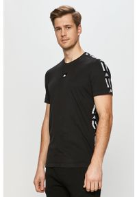 Czarny t-shirt Kappa z aplikacjami, na co dzień
