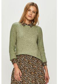 Miętowy sweter only z okrągłym kołnierzem, z długim rękawem, casualowy