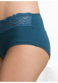 """Figi """"maxi panty"""" (4 pary) bonprix czarno-niebieskozielony morski. Kolor: czarny. Materiał: koronka. Wzór: koronka"""