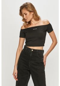 Czarna bluzka Calvin Klein Jeans na co dzień, gładkie, casualowa