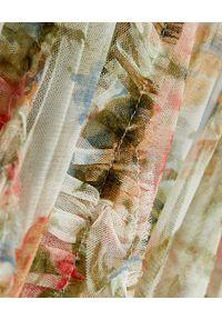 NEEDLE & THREAD - Sukienka midi Rose Garden. Kolor: zielony. Materiał: materiał. Wzór: kwiaty, nadruk. Typ sukienki: rozkloszowane. Długość: midi