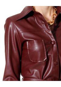 AGGI - Koszula ze skóry wegańskiej Tara. Okazja: na co dzień. Kolor: brązowy. Materiał: skóra. Długość rękawa: długi rękaw. Długość: długie. Sezon: lato. Styl: casual
