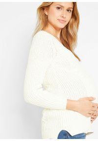 Biały sweter bonprix moda ciążowa, długi