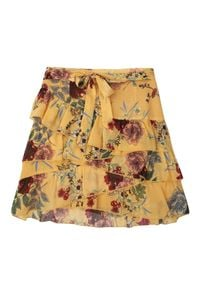 TOP SECRET - Mini spódnica z kwiatowym nadrukiem. Okazja: na co dzień. Kolor: żółty. Długość: krótkie. Wzór: kwiaty, nadruk. Styl: elegancki, casual