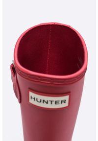 Czerwone kalosze Hunter z cholewką, z okrągłym noskiem