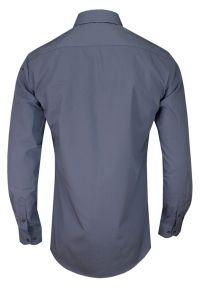 Szara elegancka koszula Chiao z aplikacjami, do pracy, z długim rękawem