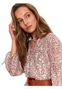Beżowa sukienka TOP SECRET z nadrukiem, koszulowa