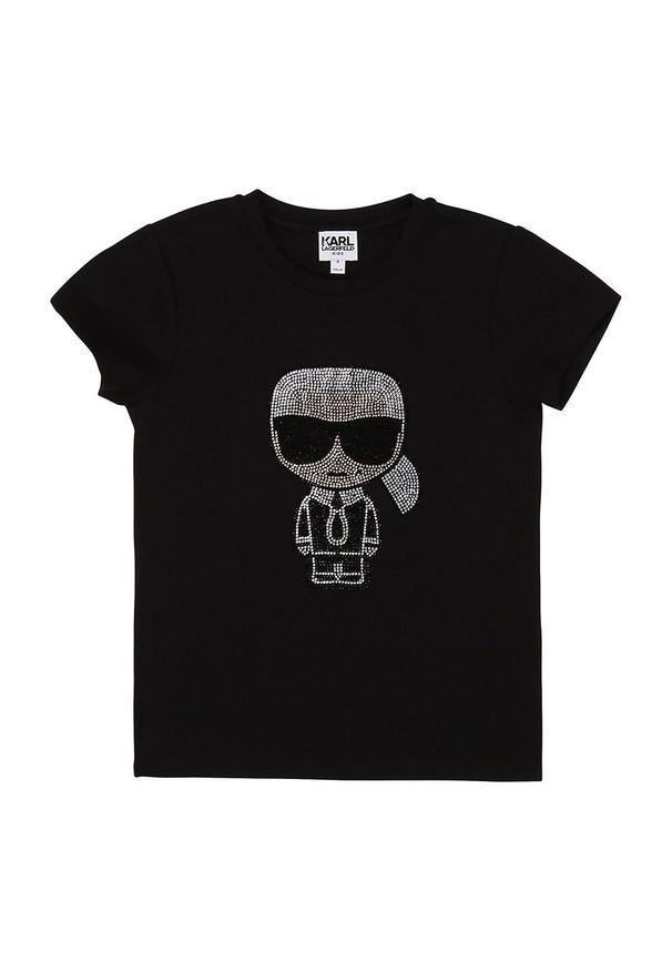 Czarna bluzka z krótkim rękawem Karl Lagerfeld na co dzień, krótka, klasyczna