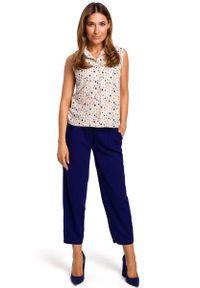 MOE - Wzorzysta Koszulowa Bluzka bez Rękawów - Model 2. Materiał: poliester, elastan. Długość rękawa: bez rękawów