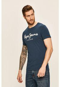 Pepe Jeans - T-shirt. Kolor: niebieski. Materiał: dzianina