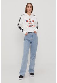 adidas Originals - Bluza bawełniana. Okazja: na co dzień. Typ kołnierza: kaptur. Kolor: biały. Materiał: bawełna. Długość rękawa: długi rękaw. Długość: długie. Wzór: nadruk. Styl: casual