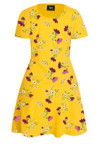 Sukienka shirtowa w kwiaty, krótki rękaw bonprix żółty kukurydziany w kwiaty. Kolor: żółty. Materiał: bawełna. Długość rękawa: krótki rękaw. Wzór: kwiaty