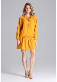 Figl - Luźna Musztardowa Sukienka z Gumką na Biodrach. Kolor: żółty. Materiał: poliester, elastan