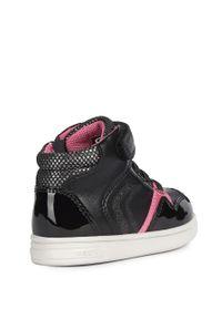 Czarne buty sportowe Geox z cholewką, z okrągłym noskiem, na rzepy