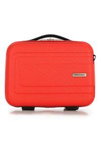 Wittchen - Kosmetyczka podróżna z ABS-u tłoczona. Kolor: pomarańczowy. Materiał: materiał