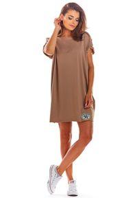 e-margeritka - Sukienka bawełniana na lato beżowa - uni. Okazja: na co dzień. Kolor: beżowy. Materiał: bawełna. Sezon: lato. Styl: wakacyjny, casual. Długość: mini