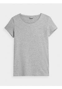 4f - T-shirt basic regular gładki damski. Kolor: szary. Materiał: dzianina, bawełna. Wzór: gładki