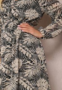 Renee - Czarno-Szara Sukienka Pickle. Kolor: czarny. Długość rękawa: długi rękaw. Wzór: aplikacja, nadruk. Długość: maxi