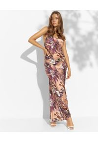 LUXE FASHION - Maxi sukienka w print z jedwabiu. Kolor: różowy, wielokolorowy, fioletowy. Materiał: jedwab. Długość rękawa: na ramiączkach. Wzór: nadruk. Długość: maxi