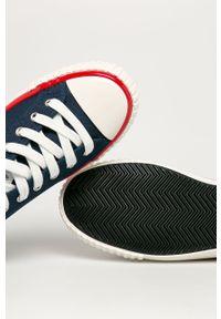 Niebieskie niskie trampki Guess Jeans z cholewką, na sznurówki, z okrągłym noskiem