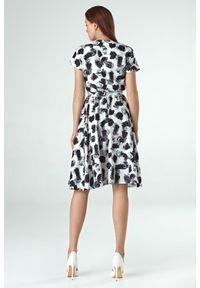 Sukienka z krótkim rękawem, rozkloszowana, elegancka