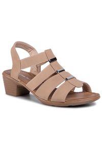 Beżowe sandały Clara Barson na co dzień, z aplikacjami, casualowe