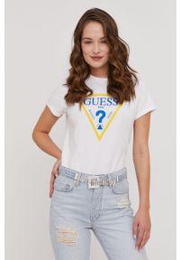 Guess - T-shirt Kyiv z kolekcji urodzinowej. Okazja: na urodziny. Kolor: biały. Materiał: dzianina, bawełna. Wzór: nadruk. Styl: casual #4