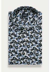 Niebieska koszula JOOP! z włoskim kołnierzykiem, na co dzień, długa, w kwiaty