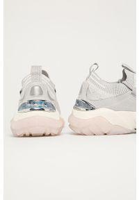 Szare buty sportowe Tamaris z okrągłym noskiem, na sznurówki, z cholewką
