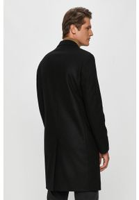 Czarny płaszcz Calvin Klein z klasycznym kołnierzykiem, na co dzień, klasyczny