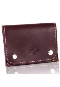 Skórzany cienki portfel wizytownik Solier SW18 brązowy vintage. Kolor: brązowy. Materiał: skóra