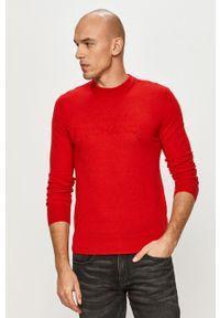 Czerwony sweter Armani Exchange długi, z długim rękawem, na co dzień, casualowy