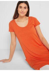 Sukienka bawełniana z przędzy mieszankowej, krótki rękaw bonprix czerwonopomarańczowy. Kolor: pomarańczowy. Materiał: bawełna. Długość rękawa: krótki rękaw