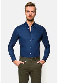 Lancerto - Koszula Granatowa Cheryl 2. Typ kołnierza: button down. Kolor: niebieski. Materiał: bawełna, len, tkanina, włókno. Długość: krótkie. Wzór: gładki. Sezon: lato