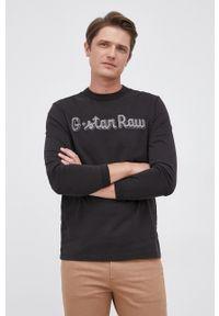 G-Star RAW - G-Star Raw - Longsleeve bawełniany. Okazja: na co dzień. Kolor: czarny. Materiał: bawełna. Długość rękawa: długi rękaw. Wzór: aplikacja. Styl: casual
