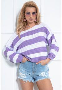 Fioletowy sweter oversize Fobya w paski
