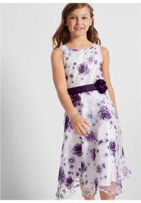 Sukienka dziewczęca na uroczyste okazje bonprix Sukienka dz.bez - c.lila typ. Kolor: fioletowy. Wzór: aplikacja, nadruk