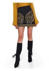 Czarna spódnica TOP SECRET krótka, na co dzień, na jesień, z aplikacjami