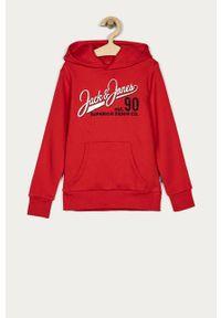 Czerwona bluza Jack & Jones z nadrukiem, na co dzień, casualowa, z kapturem