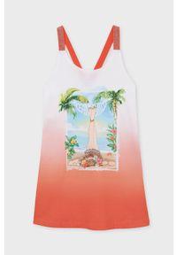 Pomarańczowa sukienka Mayoral prosta, na ramiączkach