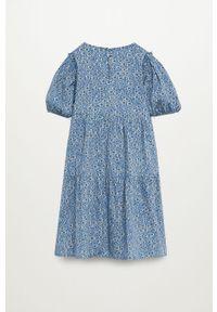 Niebieska sukienka Mango Kids mini, rozkloszowana, z krótkim rękawem