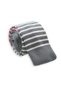 Szary krawat Chattier elegancki, w paski