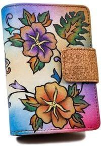 ROVICKY - Portfel damski brązowy Rovicky R-N109-ART-14 TAN. Kolor: brązowy. Materiał: skóra