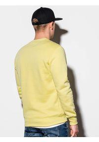Ombre Clothing - Bluza męska bez kaptura B978 - jasnożółta - XXL. Okazja: na co dzień. Typ kołnierza: bez kaptura. Kolor: żółty. Materiał: bawełna, materiał, poliester. Styl: klasyczny, casual